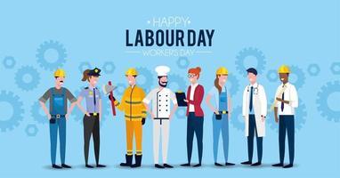 immagine della festa del lavoro con lavoratori professionisti vettore