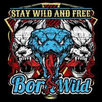 Design T-Shirt Born Wild vettore