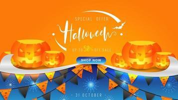 Felice giorno di Halloween banner sfondo con zucche, scritte design ed elementi di Halloween