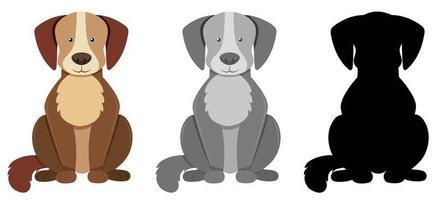 Set di tre personaggi di cani silhouette e grigio vettore