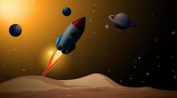 Una scena spaziale con pianeti a razzo vettore