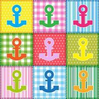 Set di patchwork con ancore colorate