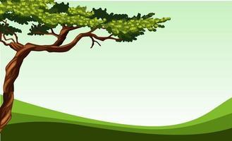 Scena della natura con albero e campo semplici vettore