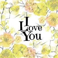 San Valentino floreale dell'acquerello ti amo fondo