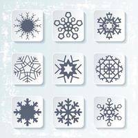 Set di 9 diversi fiocchi di neve. Illustrazione vettoriale