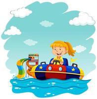 Ragazza che guida il galleggiante di gomma vettore