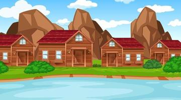 Una scena di villaggio di campagna sull'acqua