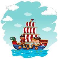 Bambini in sella a una barca vichinga vettore