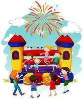 I bambini saltano sul castello che rimbalza vettore