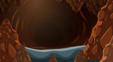 Grotta scura sullo sfondo vettore