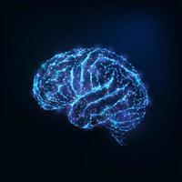 Cervello basso poligonale incandescente come linee collegate, stelle vettore