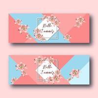 Ciao banner web estate con fiori di giglio, cornice di diamanti bianchi e testo su corallo e blu. vettore