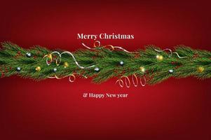 Pino di sguardo naturalistico della corona di Natale vettore
