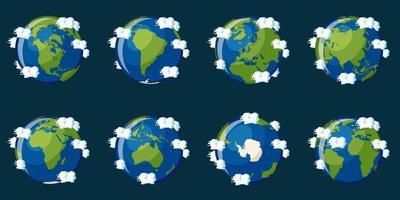 Set di globi che mostrano il pianeta Terra con diversi continenti