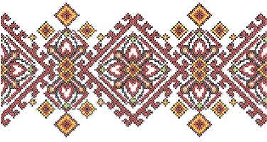 Motivo geometrico di ricamo a punto croce in stile etnico ucraino vettore