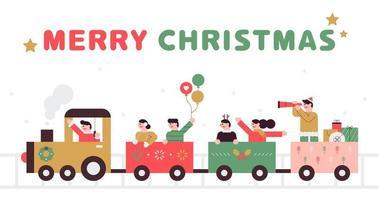 Santa che guida il treno chu chu di natale vettore