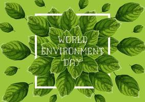 Insegna di Giornata mondiale dell'ambiente con le foglie strutturate verdi vettore