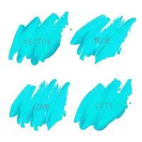 Set di pennellate blu elettrico vettore