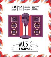 altoparlanti e microfono per la celebrazione del festival musicale vettore