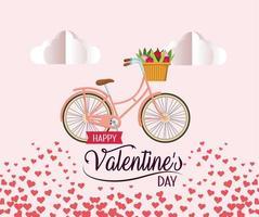 bicicletta con decorazione di fiori, nuvole e cuori per San Valentino vettore