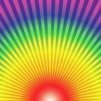 Raggi radiali arcobaleno bottom up sfondo astratto vettore