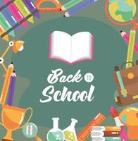 torna all'immagine della scuola con il libro di istruzione e le forniture