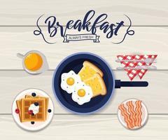deliziose uova fritte con pancetta e cialde colazione vettore