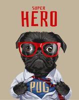 slogan dell'eroe con il cane nero del carlino nell'illustrazione della camicia vettore