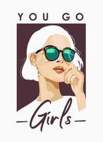 slogan con la ragazza nell'illustrazione degli occhiali da sole vettore
