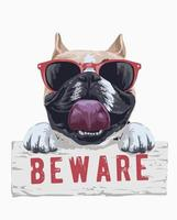 illustrazione del fumetto del cane del toro che tiene attenti al segno