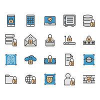 Set di icone relative alla sicurezza e protezione