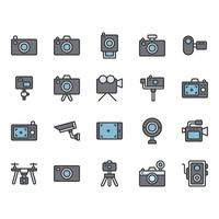 Set di icone relative alla fotocamera vettore