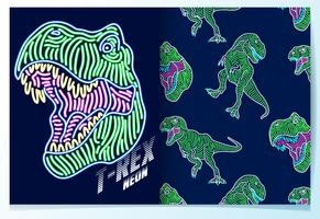 Dinosauro disegnato a mano con set di schemi di luce al neon