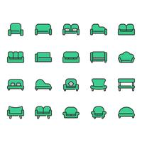 Set di icone divano e sedile vettore