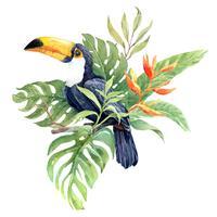 Uccello di Tucano dell'acquerello in elementi tropicali del mazzo.