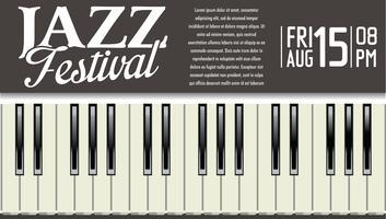 Manifesto del festival jazz con tasti di pianoforte vettore