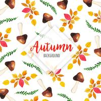 Bello fondo delle foglie di autunno dell'acquerello vettore