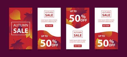 Set di banner vendita autunno flash vettore