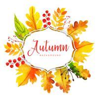 Bella cornice di foglie di autunno dell'acquerello vettore
