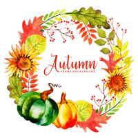 Bella acquerello Autumn Leaves Wreath vettore
