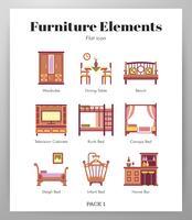 Pack di elementi mobili vettore