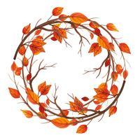 Cornice di foglie d'autunno dell'acquerello vettore