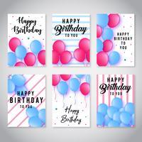 Collezione di carte di buon compleanno vettore