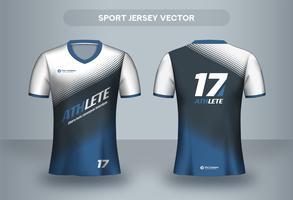 Design di maglia da calcio mezzetinte blu. Vista frontale e posteriore della maglietta uniforme. vettore
