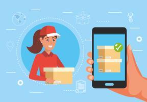 Donna che consegna pacchetto con servizio smartphone