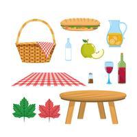 Set di cesto da picnic con tovaglia e tavolo con cibo vettore