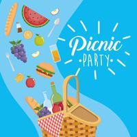 Manifesto del partito di picnic con cesto e cibo