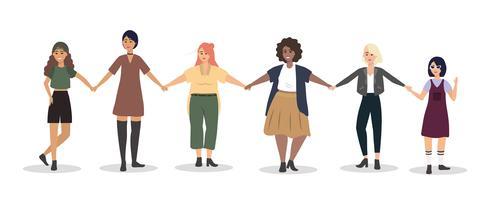 Insieme di giovani donne che tengono le mani vettore