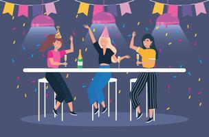 Le donne con champagne alla festa vettore