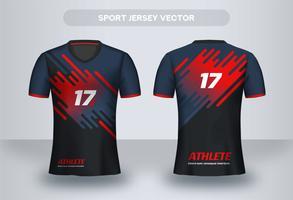 Design moderno della maglia da calcio blu e rosso. Vista frontale e posteriore della maglietta uniforme.